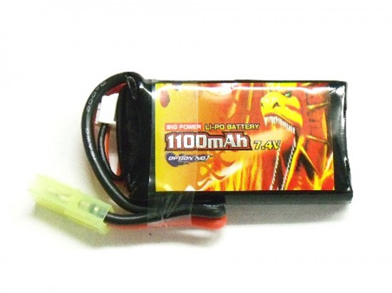 [OPTION NO.1] 7.4V 1100mAh BIG POWER LiPo GB-0028 (PEQインタイプ) (中古)